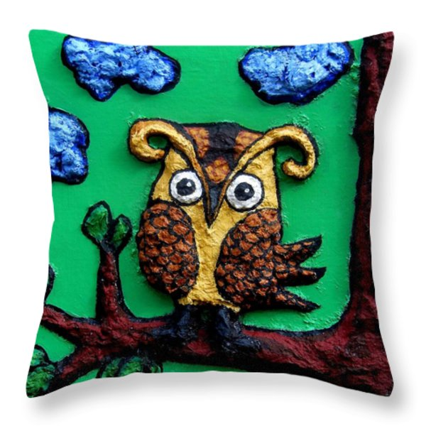 Lint Owl Detail Throw Pillow by Genevieve Esson