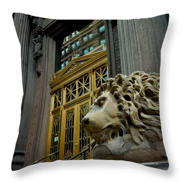 Lion At Dollar Bank Building Pittsburgh Throw Pillow by Amy Cicconi