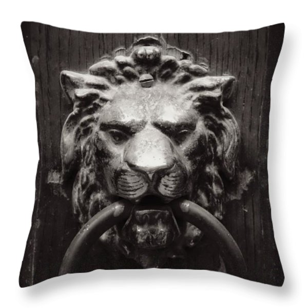 Lion Door Knocker Throw Pillow by Carol Groenen