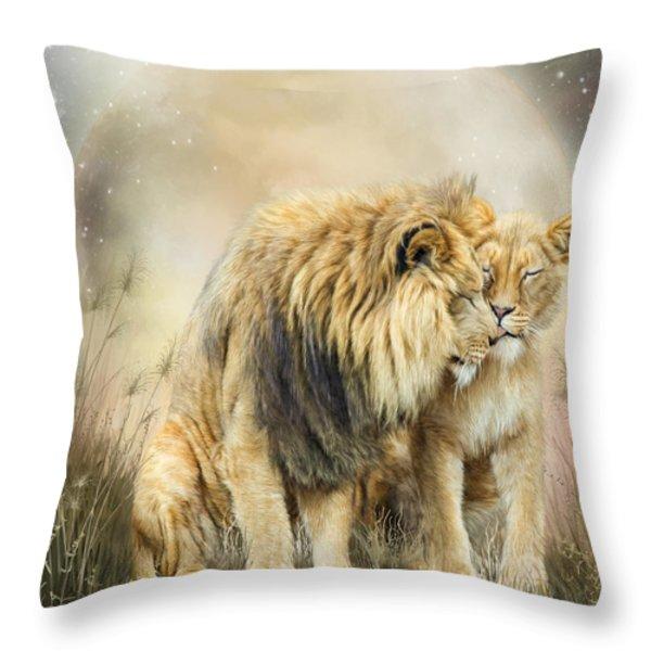 Lion Kiss Throw Pillow by Carol Cavalaris