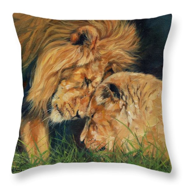 Lion  Love Throw Pillow by David Stribbling