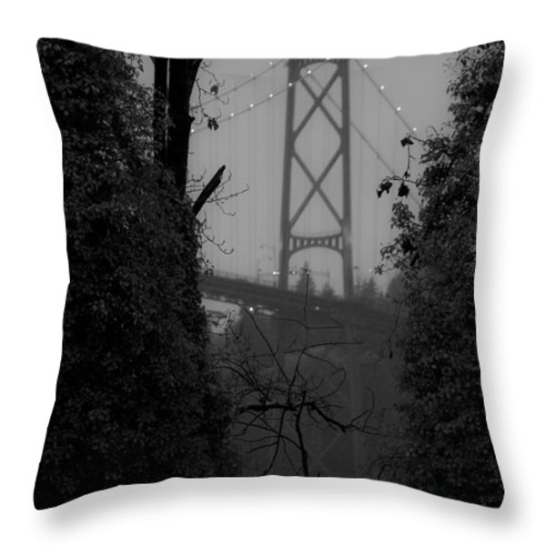 Lions Gate Bridge Throw Pillow by Nancy Harrison
