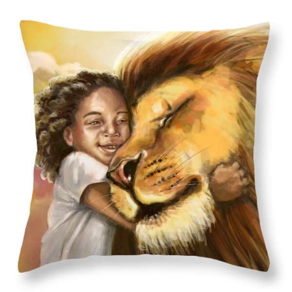 Lion's Kiss Throw Pillow by Tamer and Cindy Elsharouni