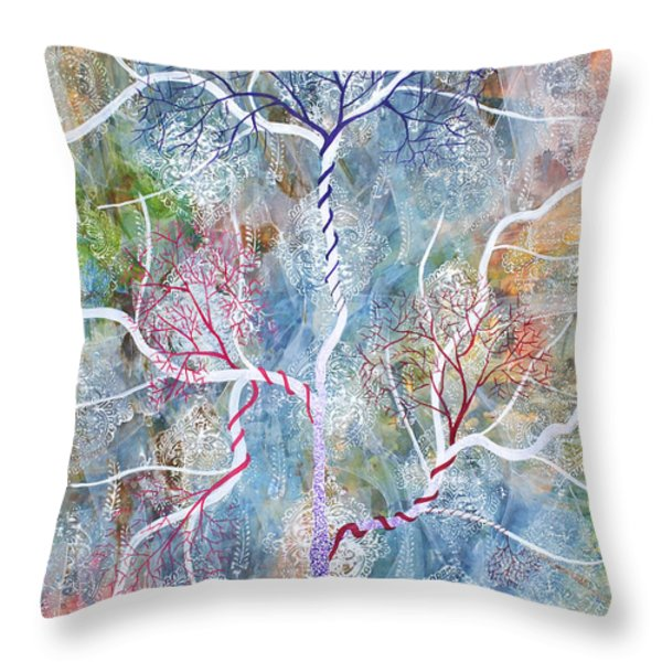 Lipid Branches Throw Pillow by Sumit Mehndiratta