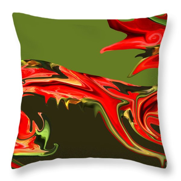 Liquid Dragon Throw Pillow by Cheryl Young