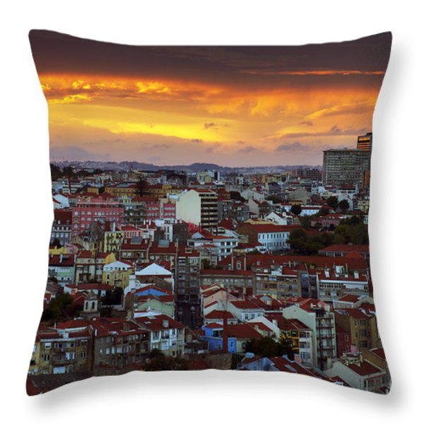Lisbon at Sunset Throw Pillow by Carlos Caetano