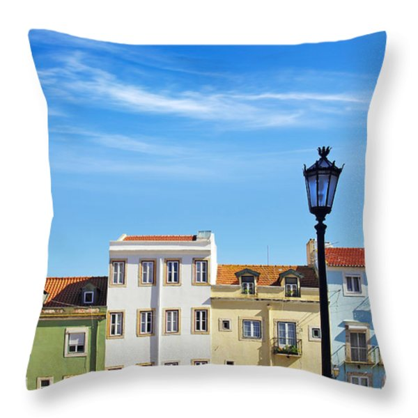 Lisbon Houses Throw Pillow by Carlos Caetano
