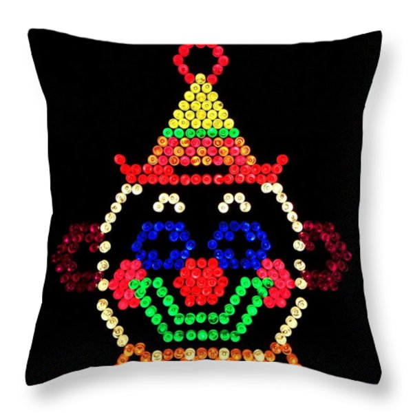 Lite Brite - The Classic Clown Throw Pillow by Benjamin Yeager