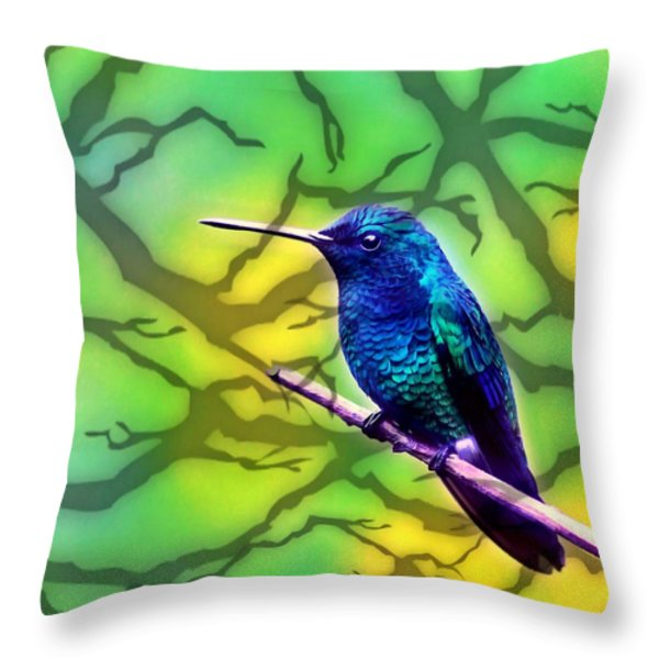 Little Bird On Branch Throw Pillow by Lanjee Chee