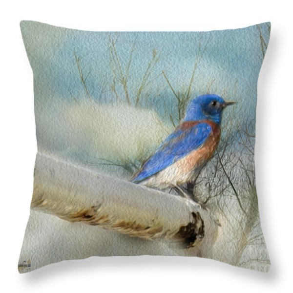 Little Blue Bird Throw Pillow by Rhonda Strickland