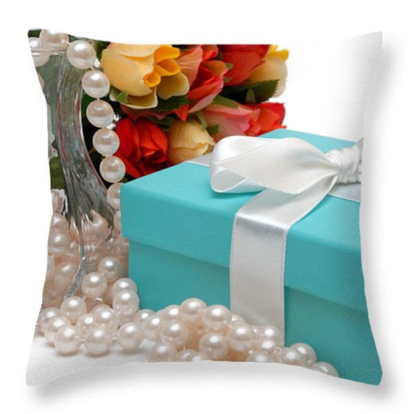 Little Blue Gift Box With Pearls And Flowers Throw Pillow by Amy Cicconi