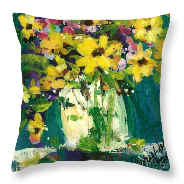 Little Daisies Throw Pillow by Sherry Harradence