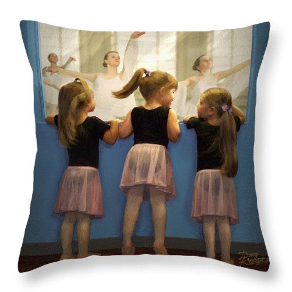 Little Dancing Dreamers Throw Pillow by Doug Kreuger