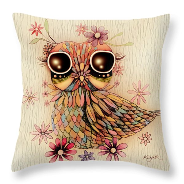 Little Flower Owl Throw Pillow by Karin Taylor