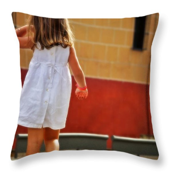 Little Girl in White Dress Throw Pillow by Mary Machare
