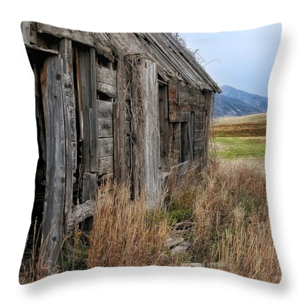 Little House On The High Plains Throw Pillow by Kathleen Bishop