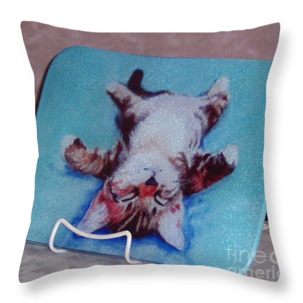 Little Napper Cutting And Serving Board Throw Pillow by Pat Saunders-White