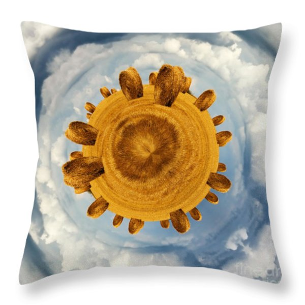 Little planet hay bales Throw Pillow by Jane Rix