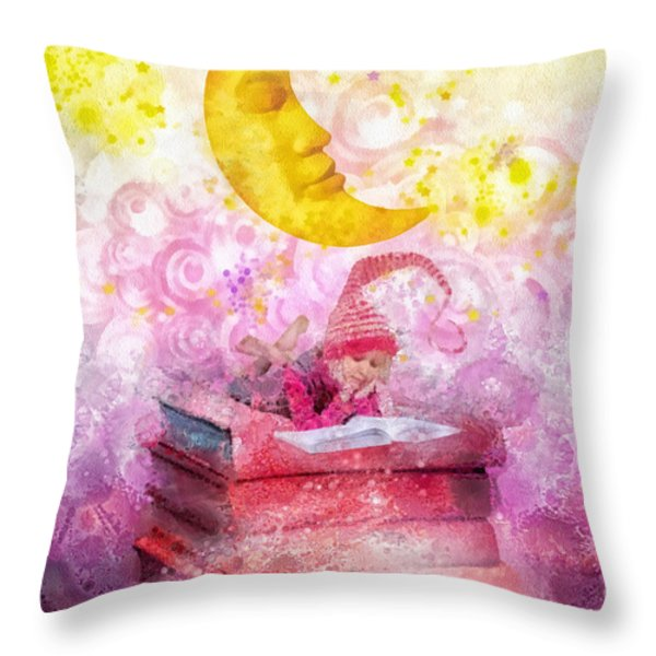Little Reader Throw Pillow by Mo T