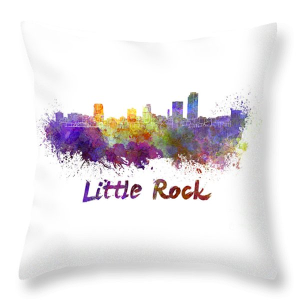Little Rock Skyline In Watercolor Throw Pillow by Pablo Romero
