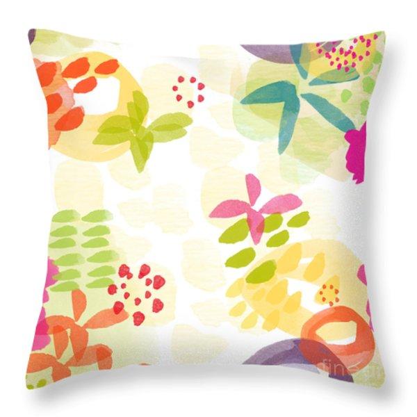 Little Watercolor Garden Throw Pillow by Linda Woods