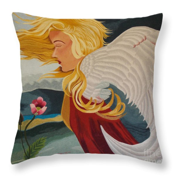 Little Wings Hand Embroidery Throw Pillow by To-Tam Gerwe