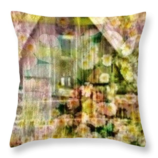 Little Witch Cottage Throw Pillow by PainterArtist FIN