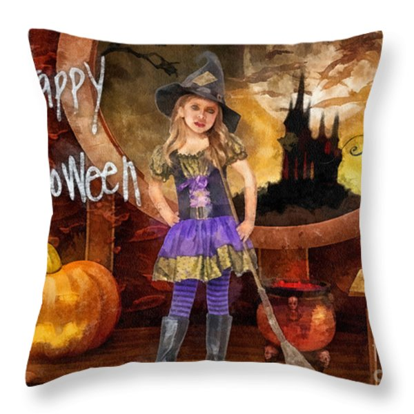 Little Witch Throw Pillow by Mo T
