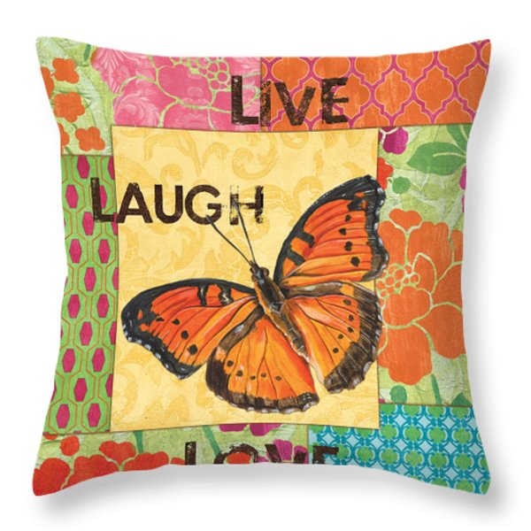 Live Laugh Love Patch Throw Pillow by Debbie DeWitt