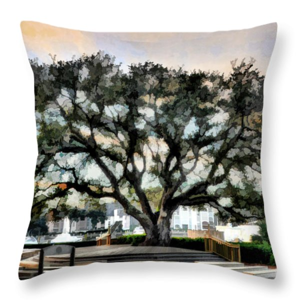 Live Oak Artistic Trendering Throw Pillow by Dan Friend