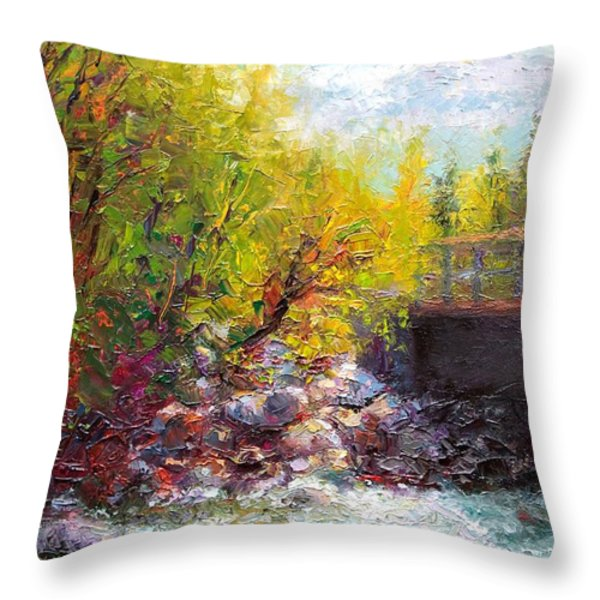 Living Water - Bridge Over Little Su River Throw Pillow by Talya Johnson