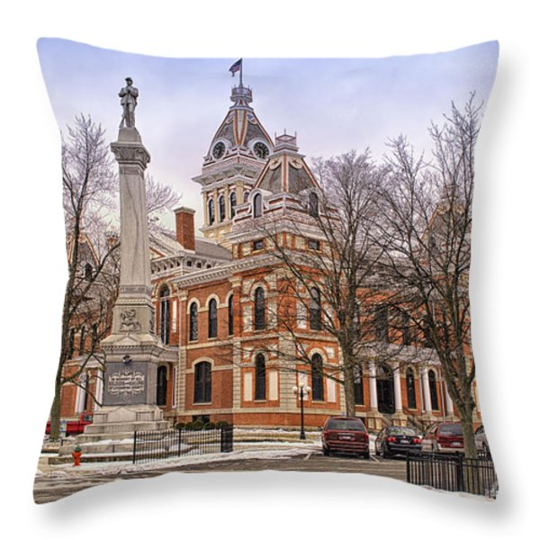 Livingston County Courthouse 06 Pontiac Il Throw Pillow by Thomas Woolworth