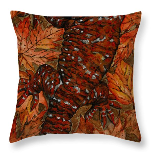 Lizard In Red Nature - Elena Yakubovich Throw Pillow by Elena Yakubovich