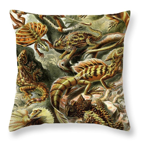 Lizards Lizards And More Lizards Throw Pillow by Unknown