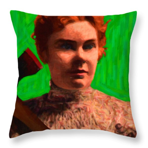 Lizzie Bordon Took An Ax - Painterly - Green Throw Pillow by Wingsdomain Art and Photography