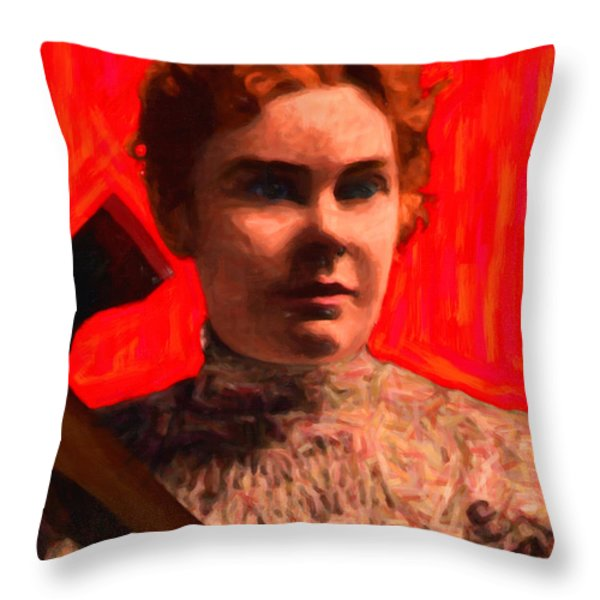 Lizzie Bordon Took An Ax - Painterly - Red Throw Pillow by Wingsdomain Art and Photography