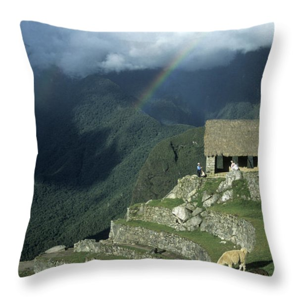 Llama And Rainbow At Machu Picchu Throw Pillow by James Brunker