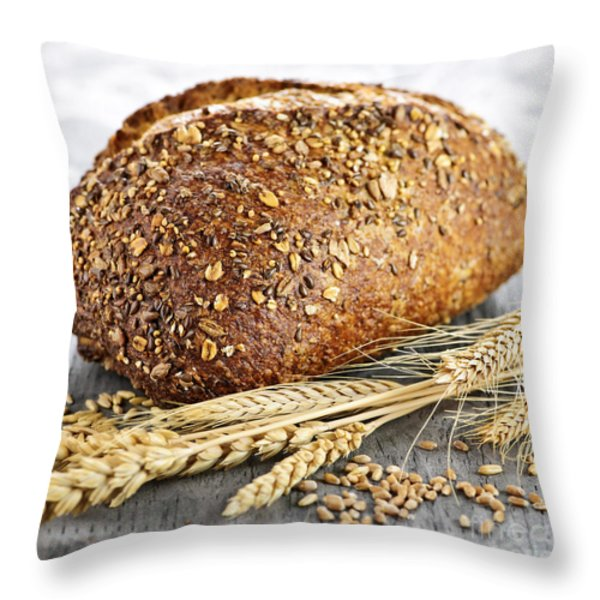 Loaf of multigrain bread Throw Pillow by Elena Elisseeva