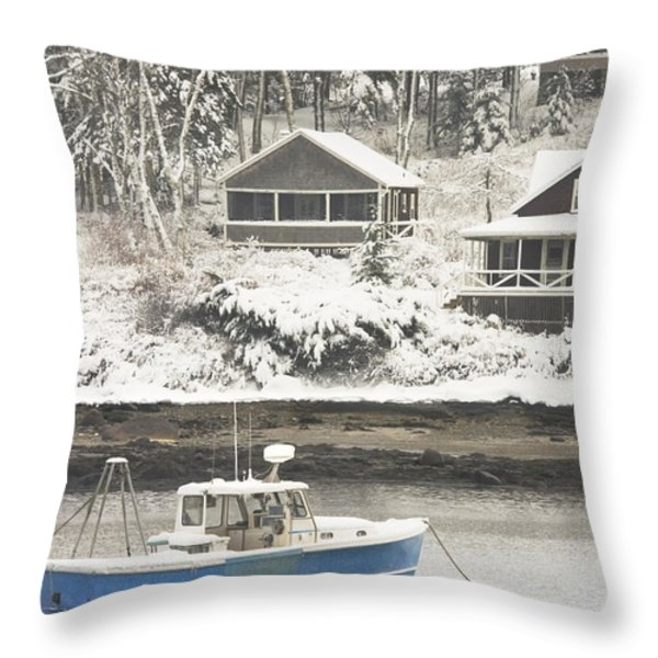 Lobster Boat After Snowstorm in Tenants Harbor Maine Throw Pillow by Keith Webber Jr