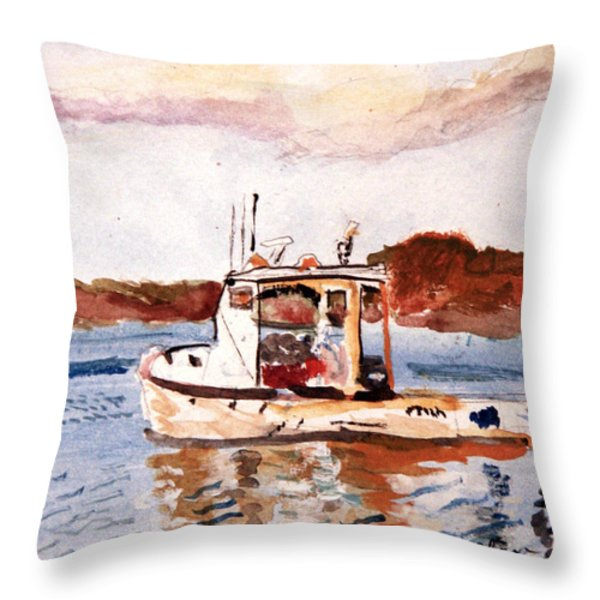 Lobster Boat Throw Pillow by Michael Helfen