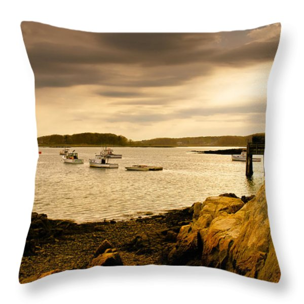 Lobster Boats Cape Porpoise Maine Throw Pillow by Bob Orsillo