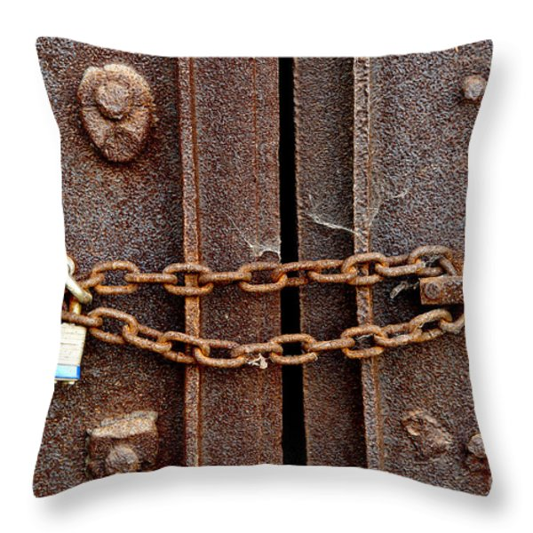 Locked Throw Pillow by Olivier Le Queinec
