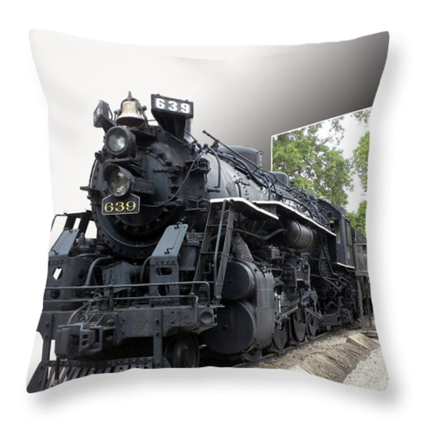Locomotive 639 Type 2 8 2 Out Of Bounds Throw Pillow by Thomas Woolworth