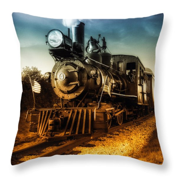 Locomotive Number 4 Throw Pillow by Bob Orsillo