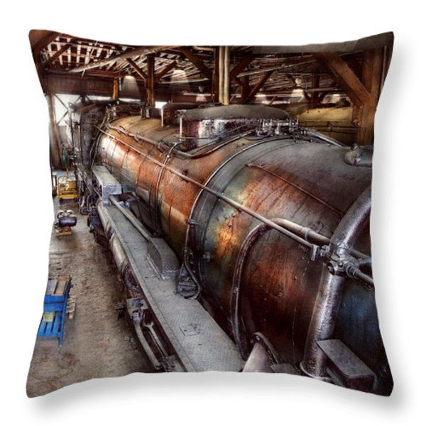 Locomotive - Routine Maintenance  Throw Pillow by Mike Savad