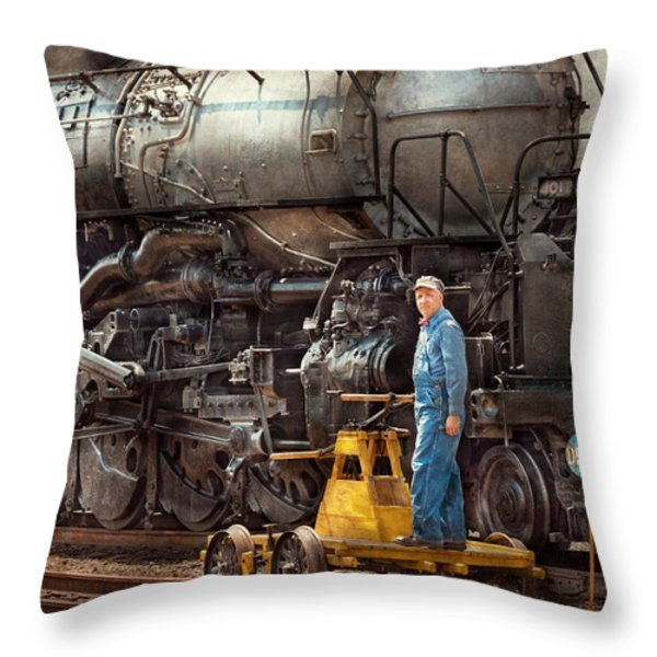Locomotive - The Gandy Dancer  Throw Pillow by Mike Savad