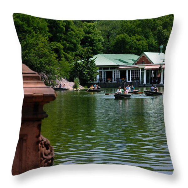 Loeb Boathouse Central Park Throw Pillow by Amy Cicconi