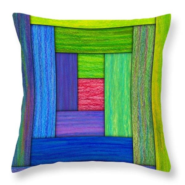 Log Cabin Card Throw Pillow by David K Small