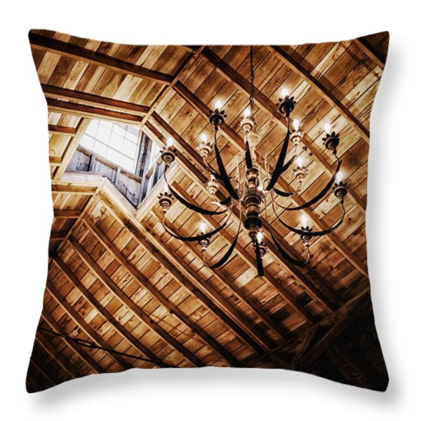 Log Cabin Chandelier  Throw Pillow by Mountain Dreams