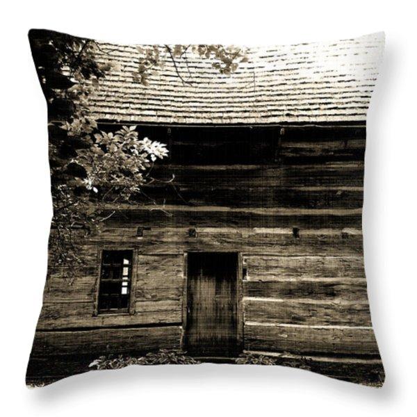 Log Cabin Home Throw Pillow by Brenda Donko